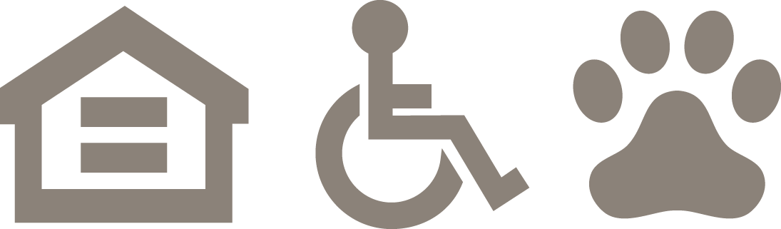 Icons for fair housing, accesible, and pet-friendly